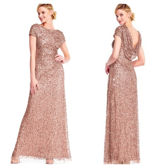 Adrianna Papell Dresses Short Sleeve Sequin Beaded Gown With Cowl Back Poshmark